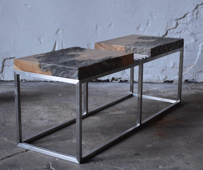 Hand-Carved Modern Style Bench in Painted Wood and Stainless Steel by R+R Sweden Design For Sale