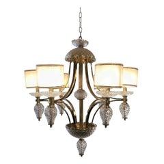 Modern Style Brass Handcut Crystal Six-Light Chandelier