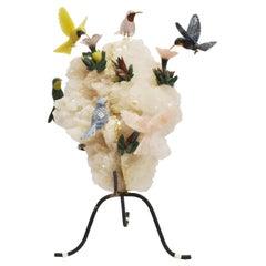 Modern Style Carved Gemstones Humming Bird Group
