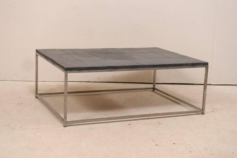 Modern Style Coffee Table With Slate Tiled Top And Stylish Custom Metal Base
