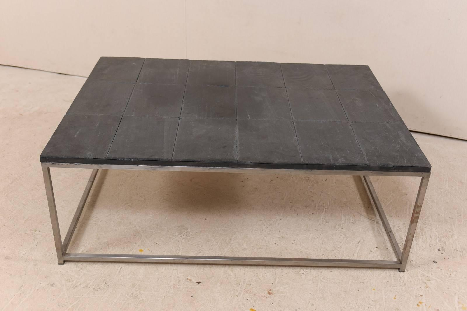 Mid Century Modern Modern Style Coffee Table With Slate Tiled Top And  Stylish Custom Metal