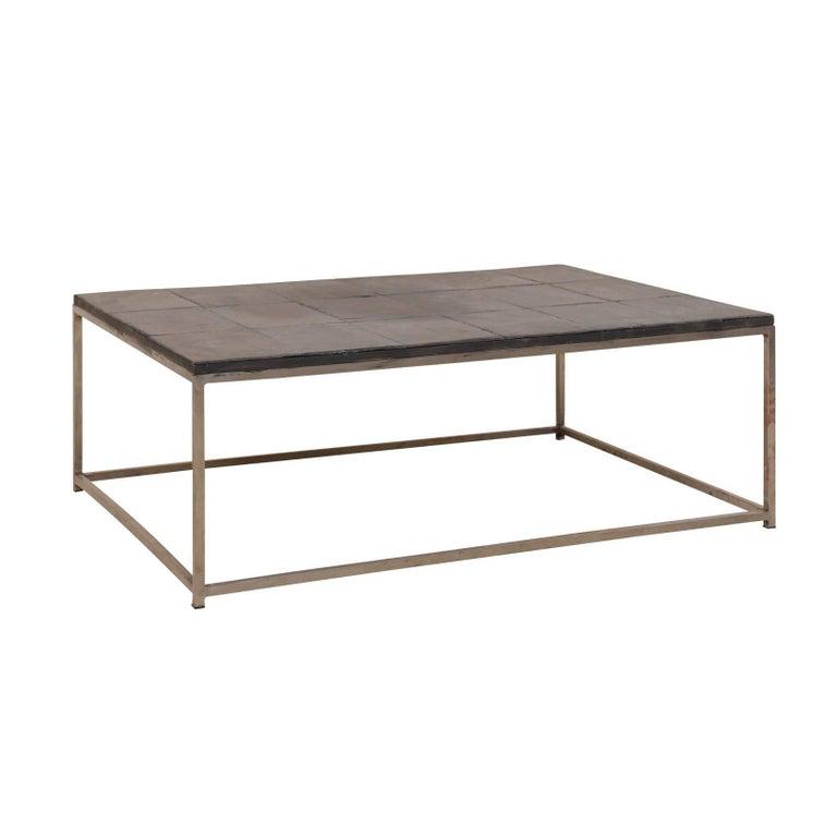 Metal Coffee Table With Slate Tiles: Modern Style Coffee Table With Slate Tiled Top And Stylish