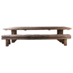 Modern Style Dining Table, Reclaimed Iron Wood