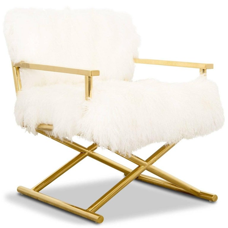 Modern Style Directors Chair Ivory Or Charcoal Mongolian