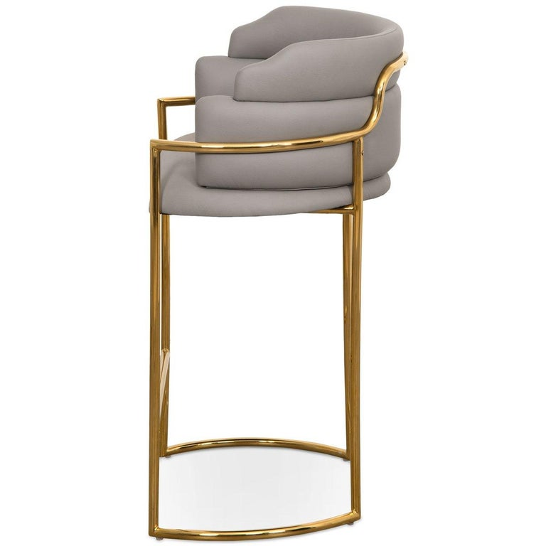 Modern Style Full Back Bar Stool In Grey Faux Leather And