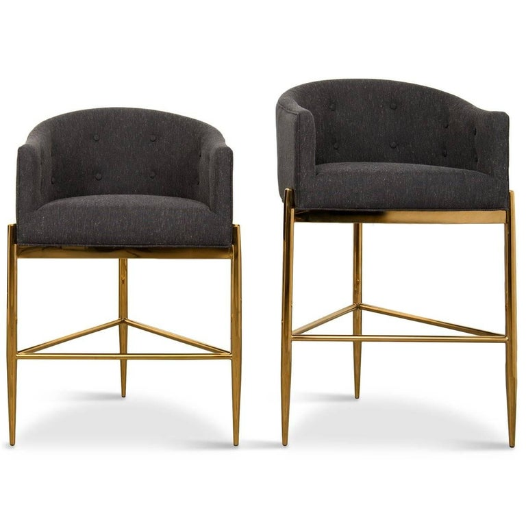 Chinese Modern Style Full Back Tight Fit Bar Stool in Black Heather Linen & Brass Frame For Sale