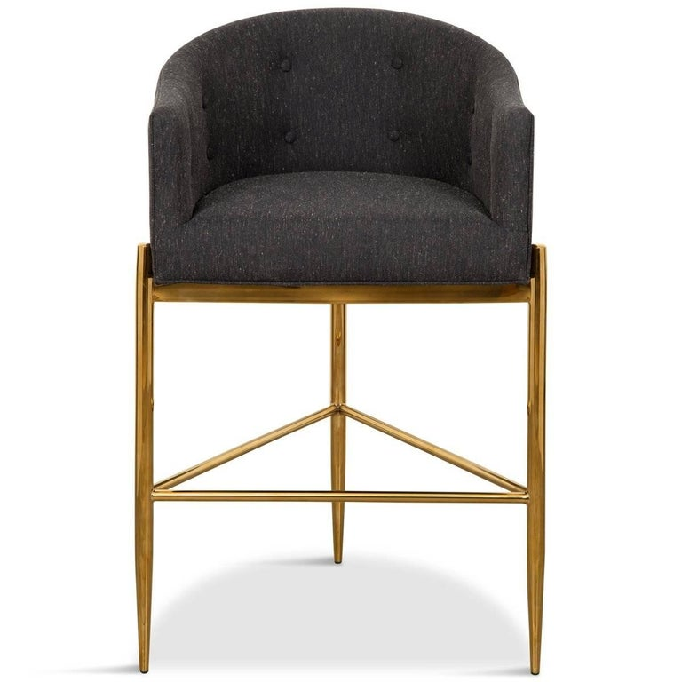 Polished Modern Style Full Back Tight Fit Bar Stool in Black Heather Linen & Brass Frame For Sale