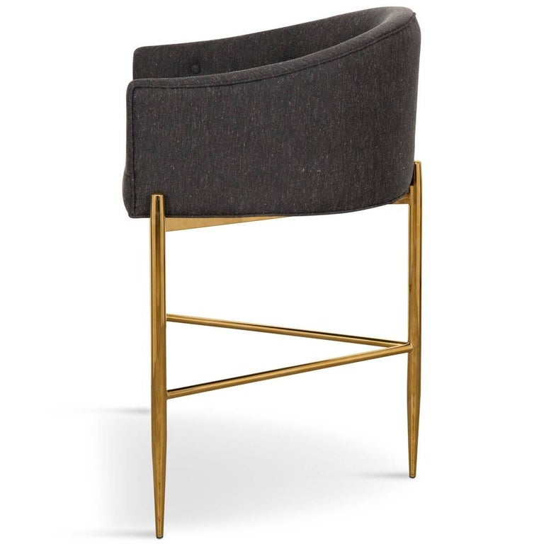 Modern Style Full Back Tight Fit Bar Stool in Black Heather Linen & Brass Frame In New Condition For Sale In Compton, CA