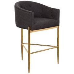 Modern Style Full Back Tight Fit Bar Stool in Black Heather Linen & Brass Frame