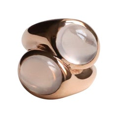Modern Style Handcrafted Rose Gold Pink Cabochon Quartz Double Hug Cocktail Ring