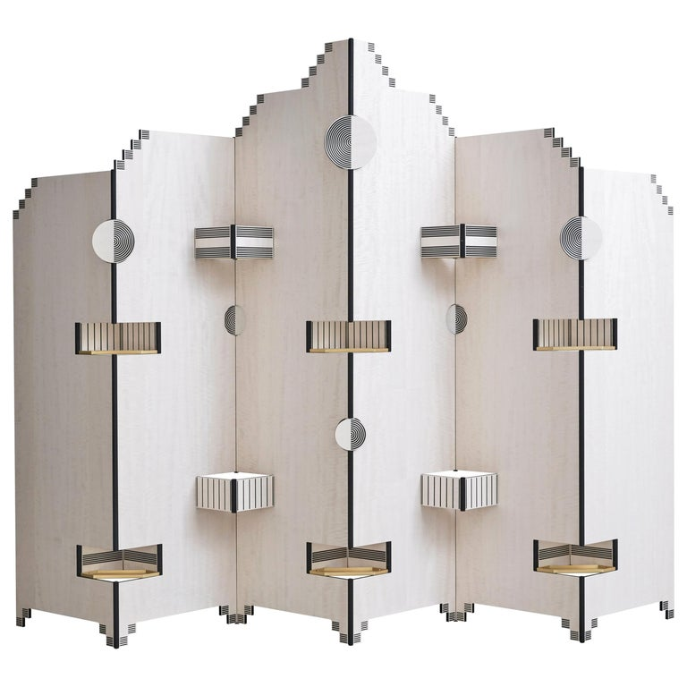 Modern Style Handmade Paperwall Screen in Tanganika Wood Veneer and Brass Detail For Sale