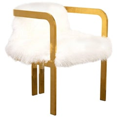 Modern Style Kingpin Dining Chair in Ivory Mongolian Fur and Solid Brass Frame