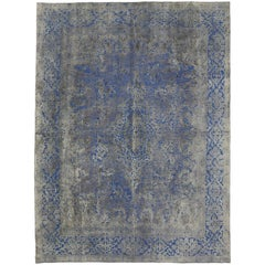 Modern Style Overdyed Distressed Vintage Turkish Rug with Industrial Design