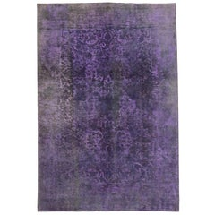 Distressed Vintage Turkish Purple Area Rug with Industrial Post-Modern Style