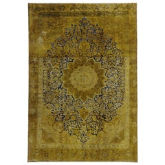 Distressed Vintage Turkish Overdyed Rug with Modern Hollywood Regency Style