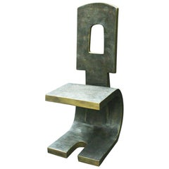 Modern Style Patinated Bronze Side Chair, Signed