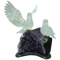 Modern Style Rock Crystal Birds on Amethyst Geode