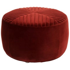 Modern Style Round Sicily Tufted Ottoman in Merlot Velvet and Chrome Feet