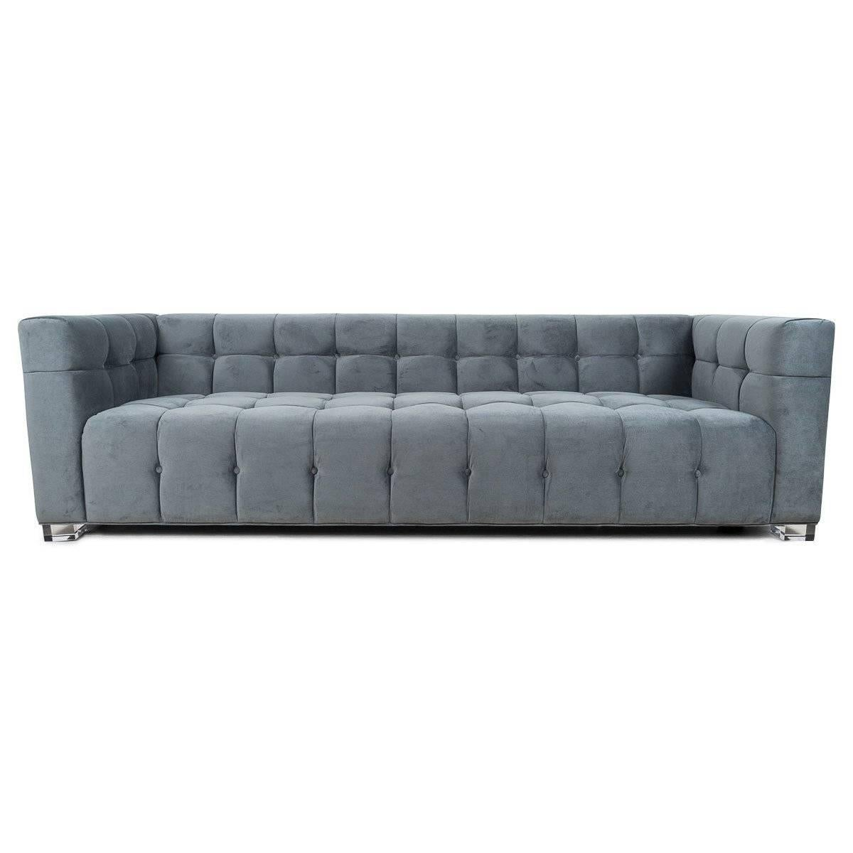 Beau Mid Century Modern Modern Style Sofa In Charcoal Velvet With Biscuit  Tufting And Lucite Block