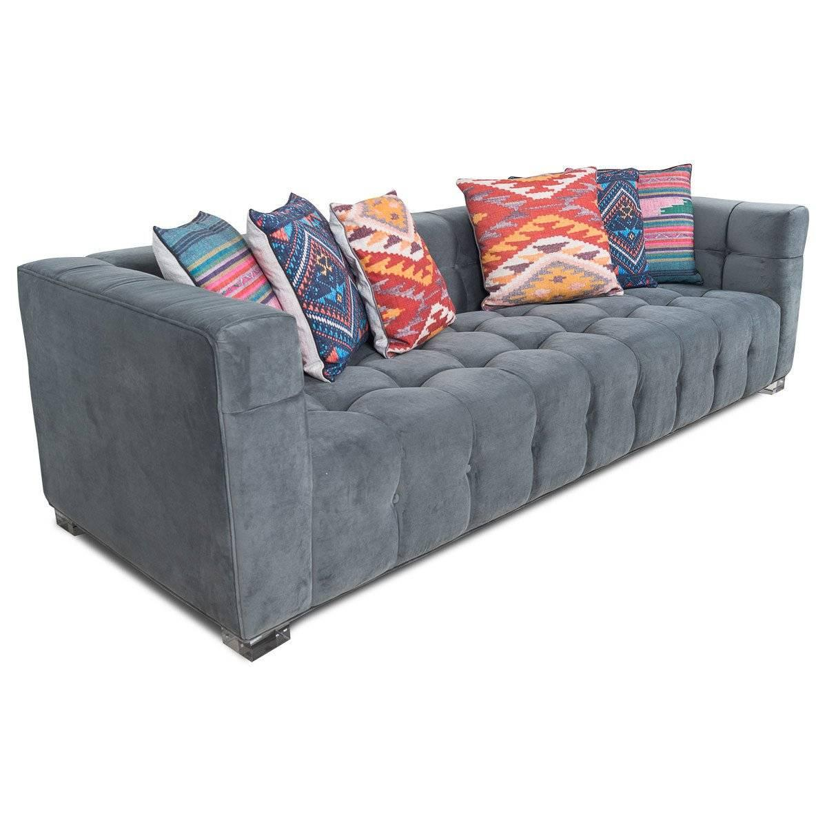American Modern Style Sofa In Charcoal Velvet With Biscuit Tufting And  Lucite Block Legs For Sale