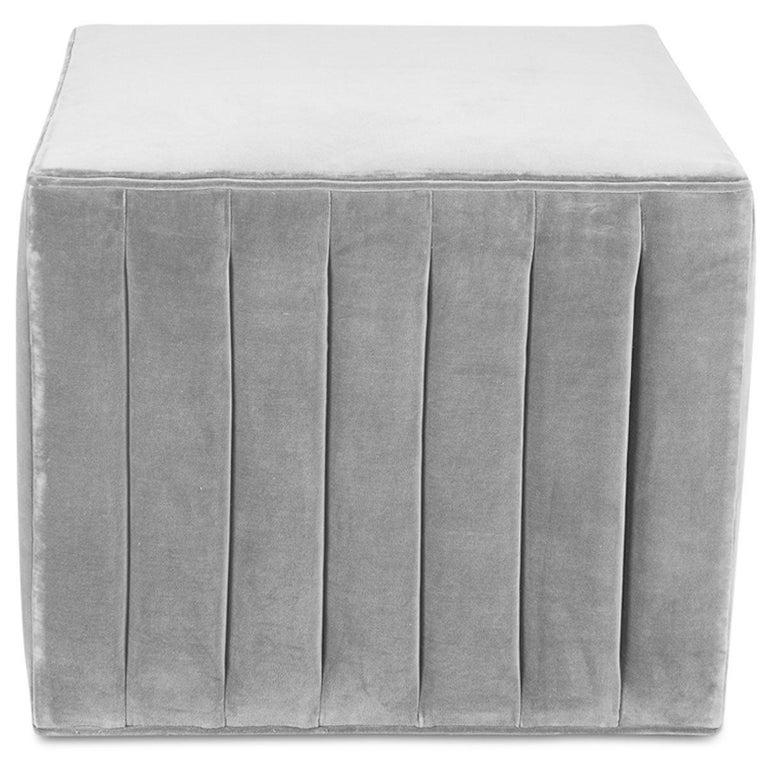 Chinese Modern Style Square Cube Manhattan Channel Tufted Ottoman in Sharkskin Velvet For Sale