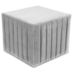 Modern Style Square Cube Manhattan Channel Tufted Ottoman in Sharkskin Velvet