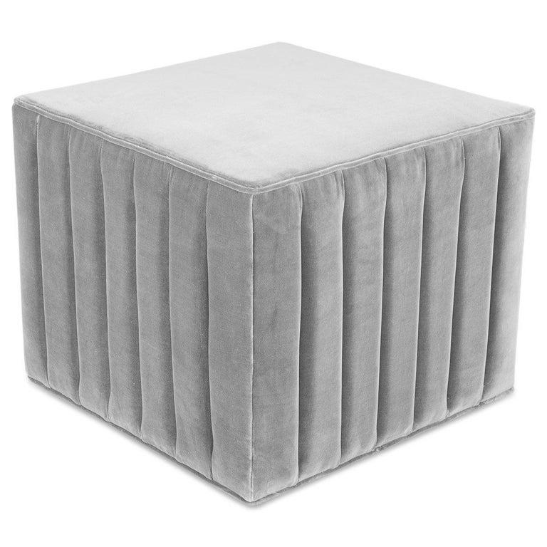 Modern Style Square Cube Manhattan Channel Tufted Ottoman in Sharkskin Velvet For Sale