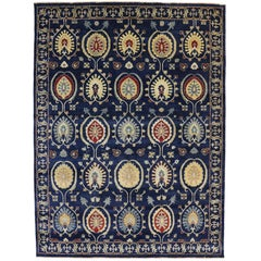 Contemporary Suzani Design Area Rug with Modern Colors and Khotan Style