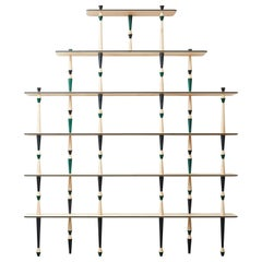 Modern Style Trabea Solid Maple Wood with Brass Details Bookshelf