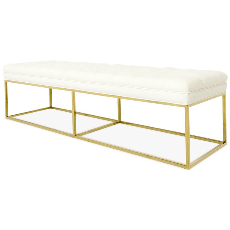 Chinese Modern Style Velvet Tufted Ottoman Bench with Polished Brass Geometric Frames For Sale