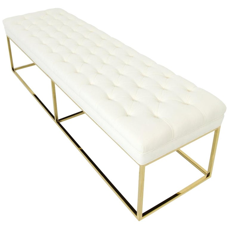 Modern Style Velvet Tufted Ottoman Bench with Polished Brass Geometric Frames For Sale