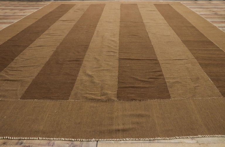 Vintage Persian Kilim Rug with Mid-Century Modern Style, Striped Kilim Area Rug For Sale 1