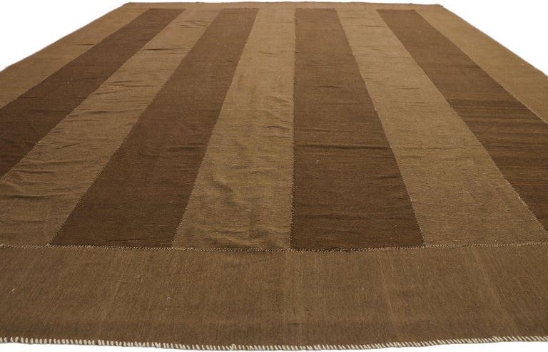 Hand-Woven Vintage Persian Kilim Rug with Mid-Century Modern Style, Striped Kilim Area Rug For Sale