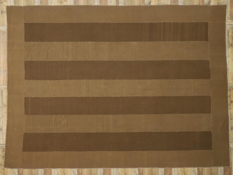 Vintage Persian Kilim Rug with Mid-Century Modern Style, Striped Kilim Area Rug For Sale 2