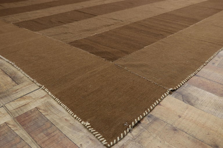Wool Vintage Persian Kilim Rug with Mid-Century Modern Style, Striped Kilim Area Rug For Sale