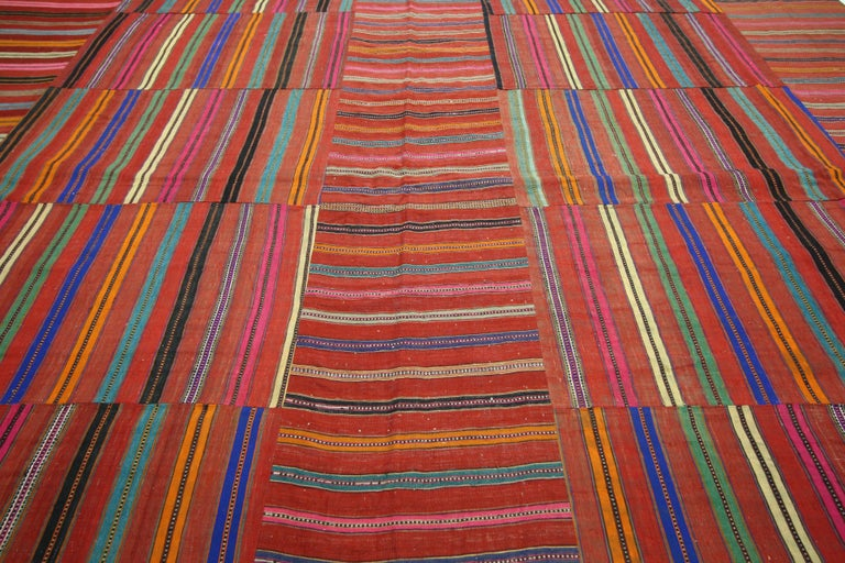 60644 Modern Style Vintage Turkish Kilim Flat-Weave Rug, Striped Kilim Area Rug. This handwoven wool vintage Turkish kilim Jajim kilim rug features a variety of colorful stripes composed of both wide and narrow bands forming a captivating visual