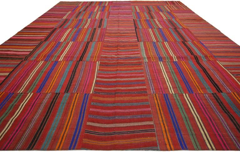 Hand-Woven Modern Style Vintage Turkish Kilim Flat-Weave Rug, Striped Kilim Area Rug For Sale