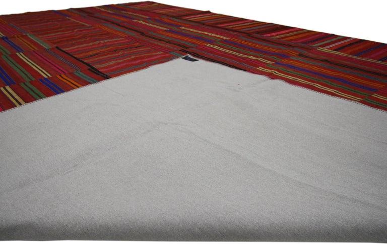 20th Century Modern Style Vintage Turkish Kilim Flat-Weave Rug, Striped Kilim Area Rug For Sale