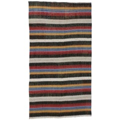Vintage Turkish Jajim Striped Kilim Area Rug with American Colonial Style