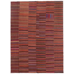 Modern Rustic Vintage Turkish Kilim Flat-Weave Rug, Striped Kilim Area Rug