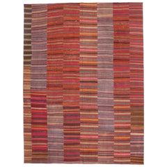 Modern Rustic Style Vintage Turkish Kilim Flat-Weave Rug, Striped Kilim Area Rug