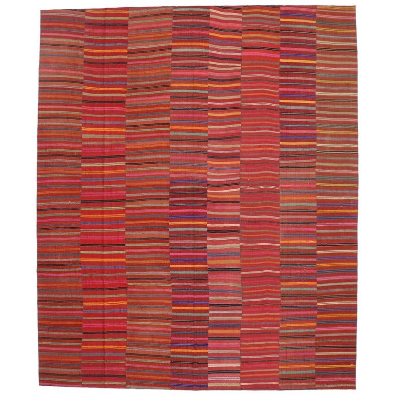 Vintage Turkish Flat Weave Rug: Modern Style Vintage Turkish Kilim Flat-Weave Rug, Striped