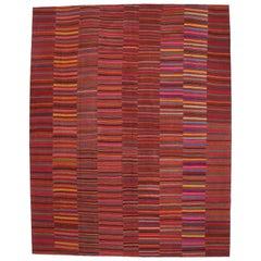 Modern Style Vintage Turkish Kilim Flat-Weave Rug, Striped Kilim Area Rug