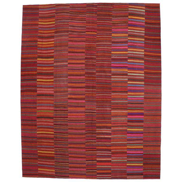 Modern Style Vintage Turkish Kilim Flat-Weave Rug, Striped Kilim Area Rug For Sale