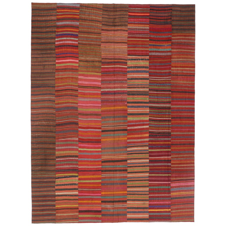 Vintage Turkish Flat Weave Rug: Modern Rustic Style Vintage Turkish Kilim Flat-Weave Rug