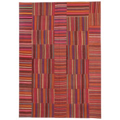 Modern Style Vintage Turkish Kilim Flat-Weave Rug, Striped Kilim Area Rug