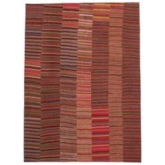 Modern Rustic Vintage Turkish Jajim Kilim Flat-Weave Rug, Striped Area Rug