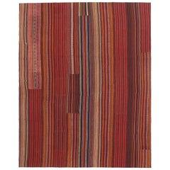 Modern Venetian Vintage Turkish Jajim Kilim Flat-weave Rug, Striped Area Rug