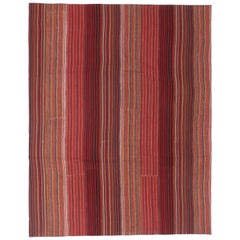 Contemporary Boho Vintage Turkish Jajim Kilim Flat-Weave Rug, Striped Area Rug