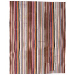 Vintage Turkish Jajim Striped Kilim Area Rug with Modern American Colonial Style